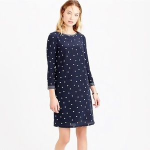 J Crew polka dotted silk shift dress